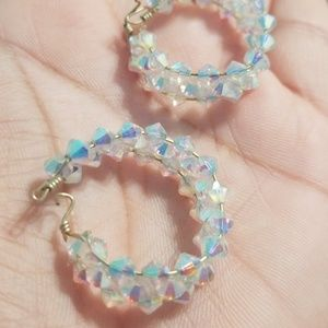 White Crystal Small Hoop Earrings